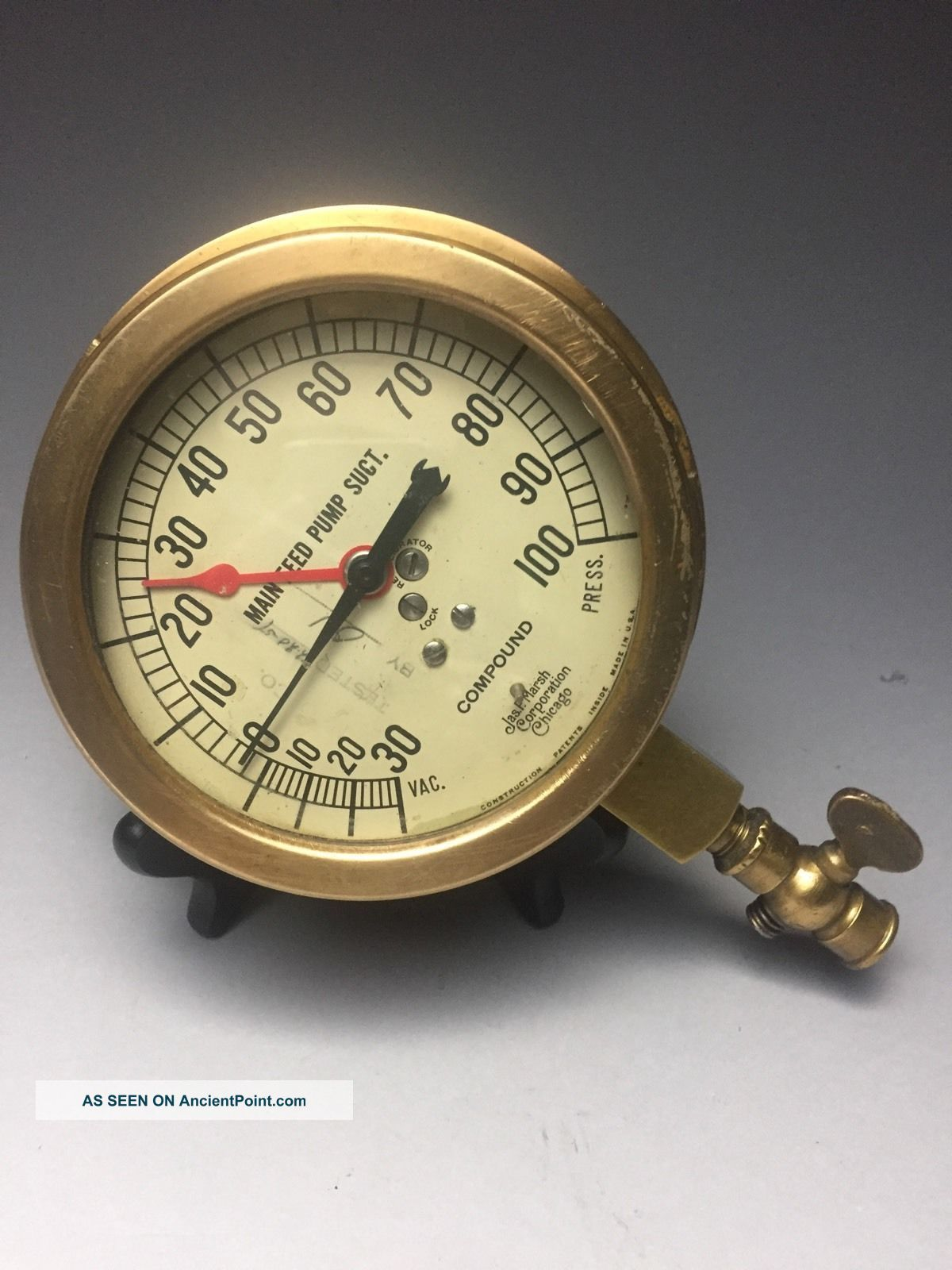 Antique Brass Jas.  P.  Marsh Corp Chicago Maritime Compound Pressure Gauge Other Maritime Antiques photo