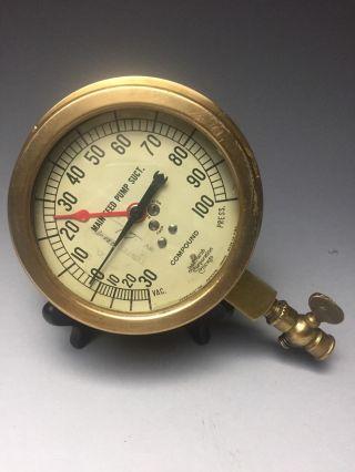 Antique Brass Jas.  P.  Marsh Corp Chicago Maritime Compound Pressure Gauge photo