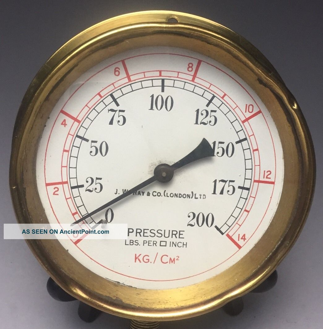 Antique Brass J.  W.  Ray & Co London Ship Maritime Lbs/sq Inch Pressure Gauge Other Maritime Antiques photo