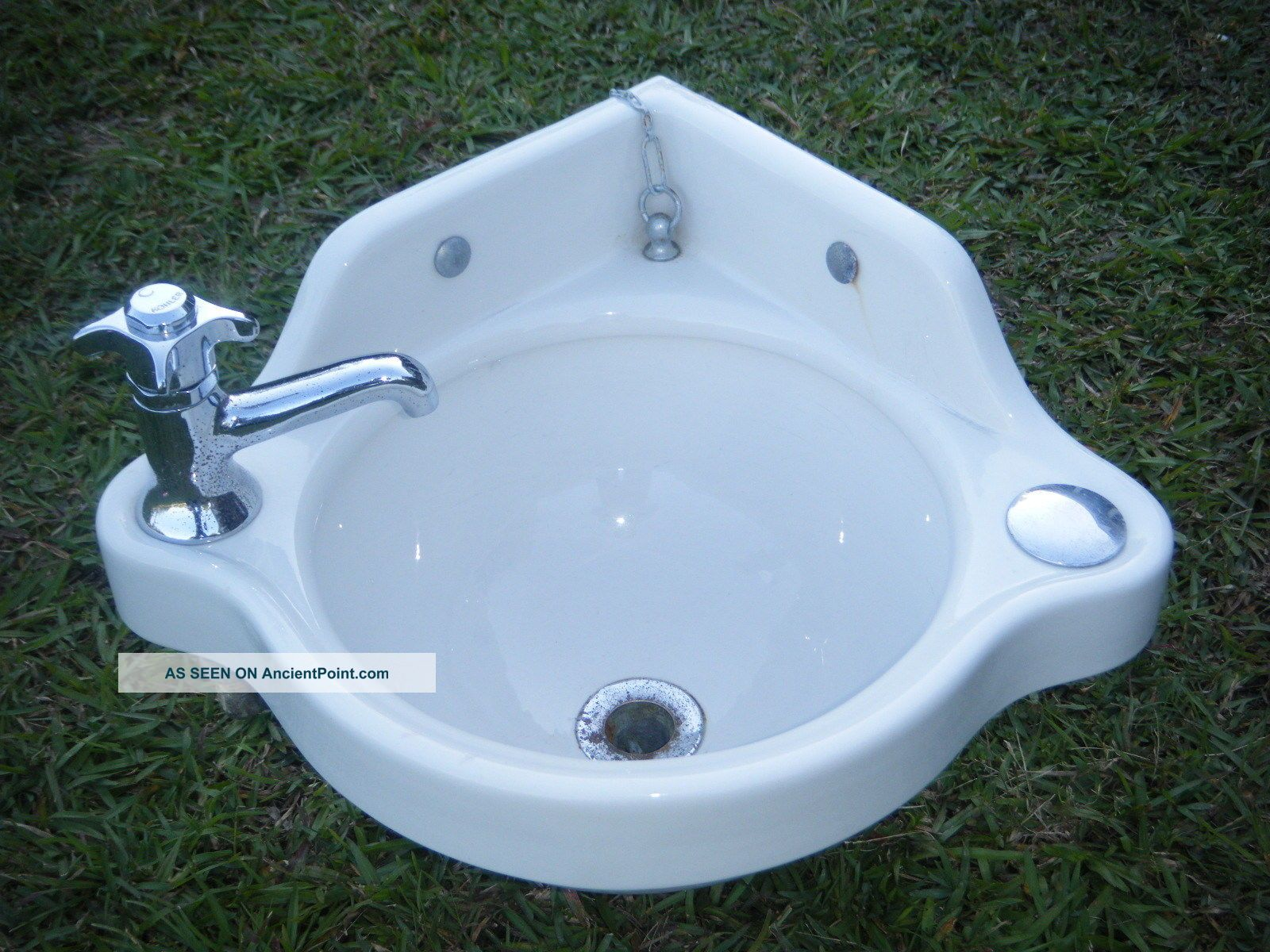 Vtg 1950s Small White Porcelain Boat Ship Corner Lavatory Sink Maritime Salvage Other Maritime Antiques photo