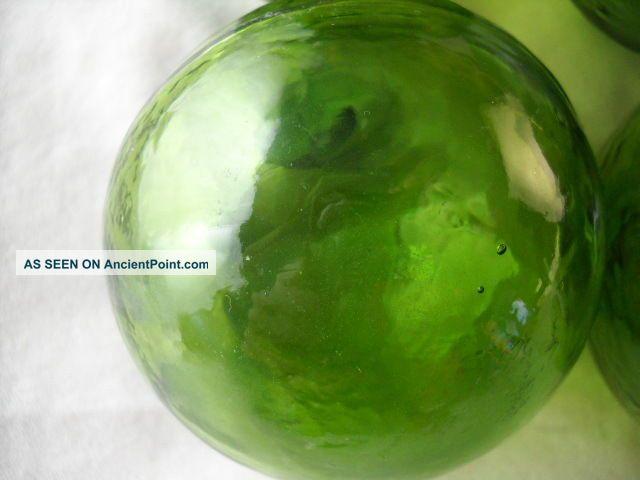 6 Olive Green Japanese,  Korean Vintage Glass Floats Alaska Beachcomberbum Fishing Nets & Floats photo