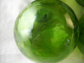 6 Olive Green Japanese,  Korean Vintage Glass Floats Alaska Beachcomberbum photo
