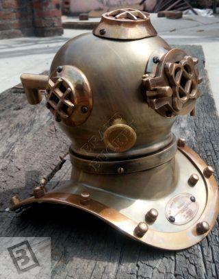 Vintage Look U.  S.  Navy Mark V Solid Steel Mini Diving Divers Helmet 6