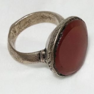 Rare Old Anceint Roman Ring Silver Carnelian Stone Ring photo