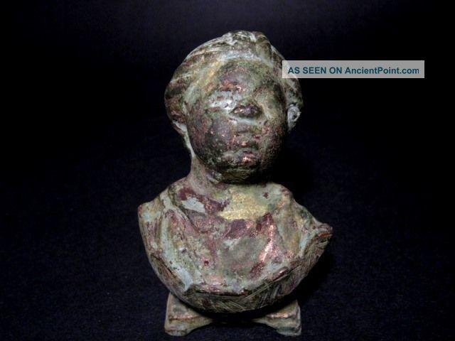Roman Style Heavy Bronze Bust Of Roman Boy On Stand,  Replica Roman photo