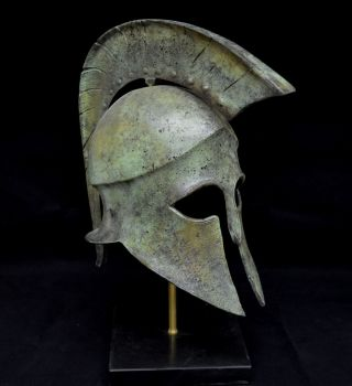 Leonidas Spartan Great Bronze Helmet Artifact Collectible photo