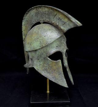 Leonidas Spartan Great Bronze Helmet Artifact Collectible photo