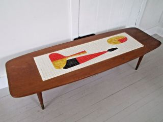 Vintage Mid - Century Danish Modern Mosaic Surfboard Coffee Table Eames Natzler photo