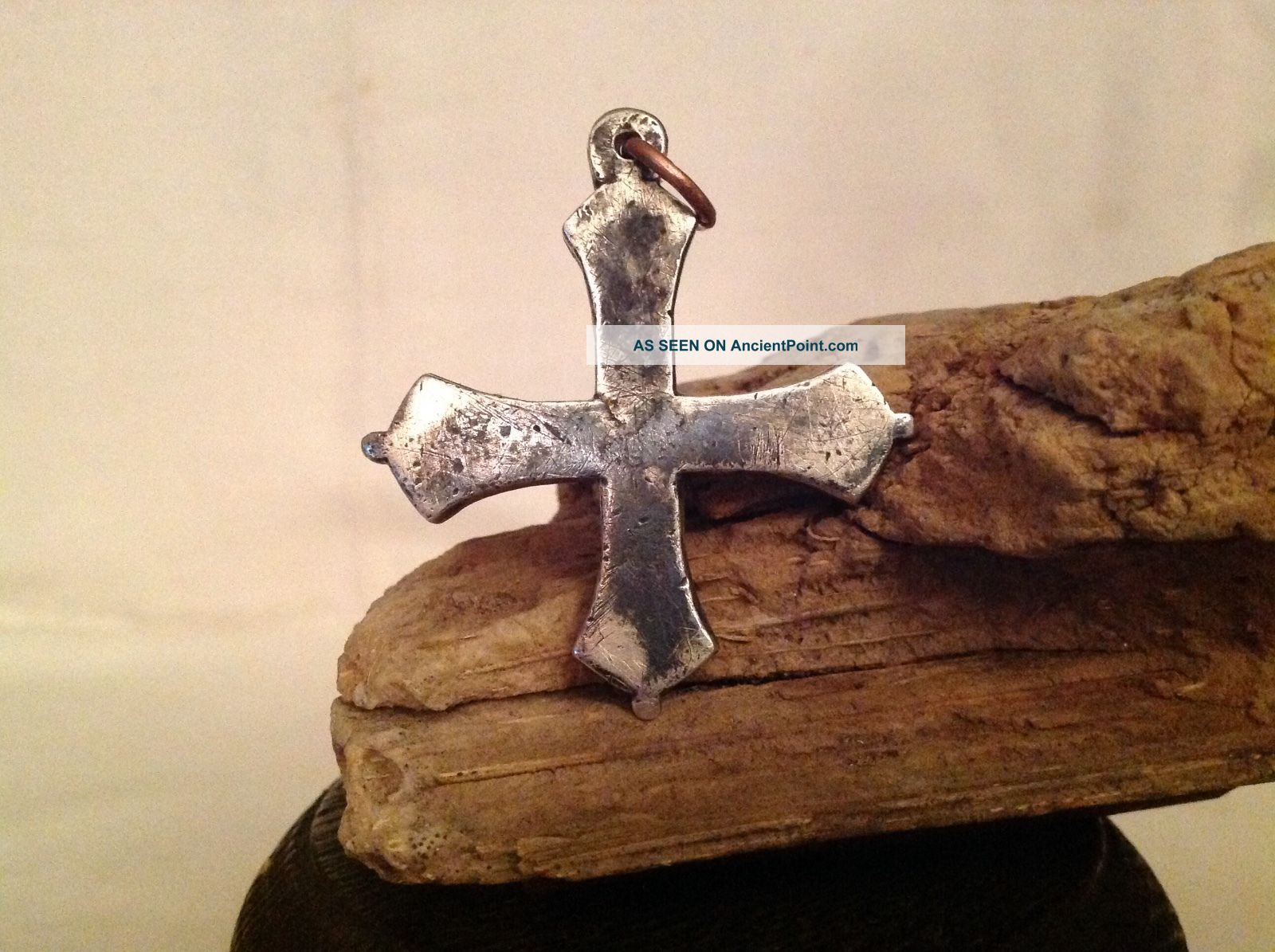 Solid Silver Religious Cross Medieval Antique Metal Detecting Find Vintage Old Brooches/Jewellery photo