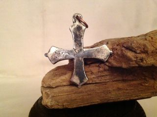 Solid Silver Religious Cross Medieval Antique Metal Detecting Find Vintage Old photo