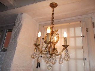 French Antique Vintage Ornately Bronze Crystals Chandelier 4 Light Patina photo