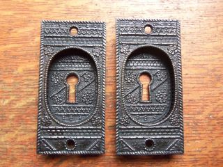 Two Antique Fancy Victorian Eastlake Iron Pocket Door Pulls Pull Plates C1885 photo