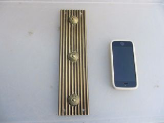 Antique Brass Finger Plate Push Door Handle Architectural Vintage Ribbed Beehive photo