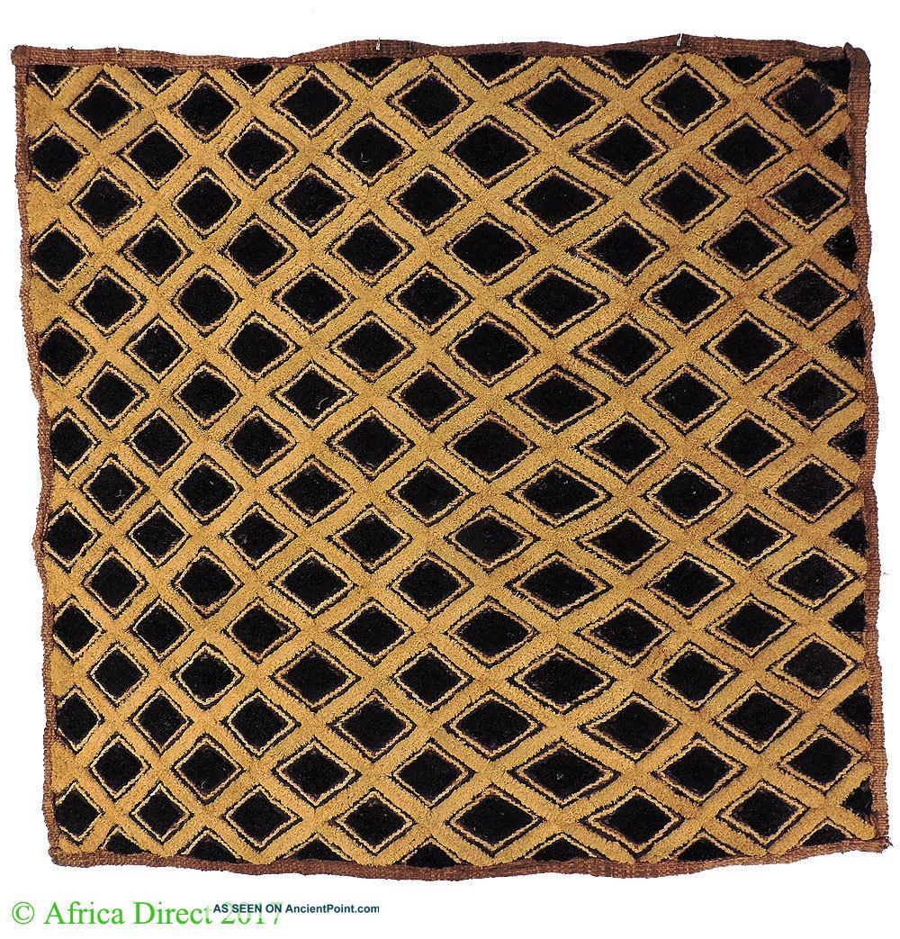 Kuba Square Raffia Handwoven Textile Congo African Art Other African Antiques photo