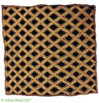 Kuba Square Raffia Handwoven Textile Congo African Art photo