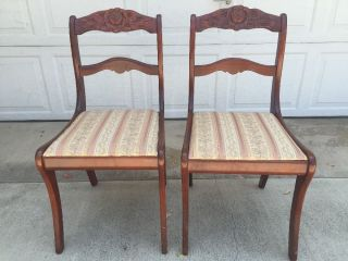 Antique Victorian Upholstered Rose Carved Back Mahogany Wooden 2 Dining Chairs photo