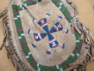 Large Old Plains Indian Beaded Deerskin Medicine Bag - Native American photo