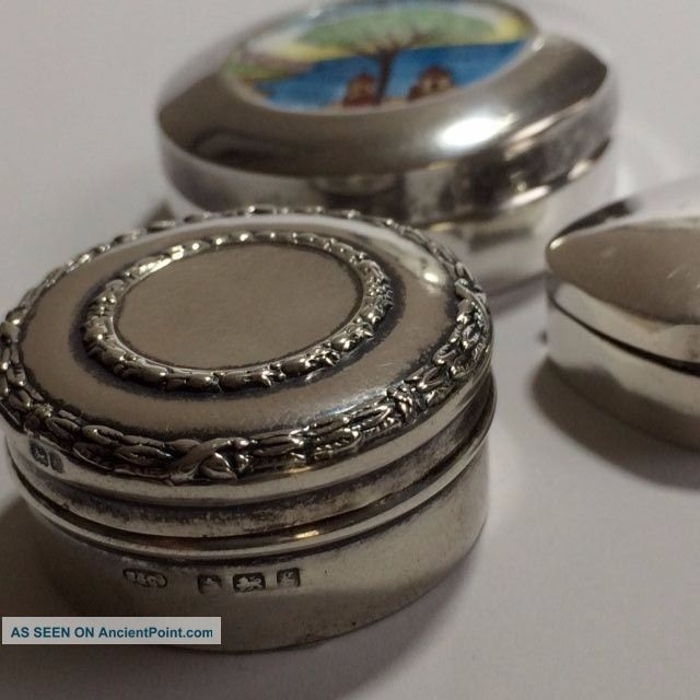 3 Vintage And Antique Sterling Silver Pill Box ' S Sterling Silver (.925) photo