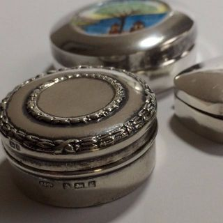 3 Vintage And Antique Sterling Silver Pill Box ' S photo