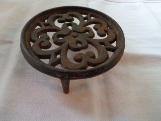 Antique Round Ornate Cast Iron 3 - Footed Vintage Trivet Perfect Primitive Decor photo