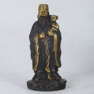 Chinese Copper Gilt Handwork Longevity God Statue W Qianlong Mark Ht002 photo