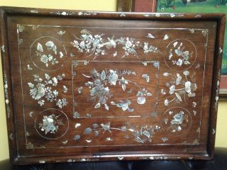 Antique 19th Mother Of Pearl Chinese Wood Opium Tray photo