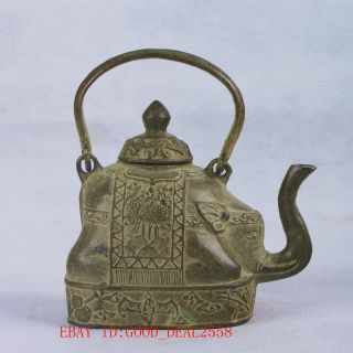 Chinese Bronze Handwork Carved Elephant Teapot W Qing Dynasty Mark Qt057 photo