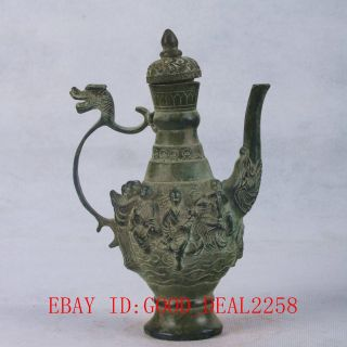 Chinese Bronze Handwork Carved The Eight Immortals Teapot W Qianlong Mark Qt064 photo