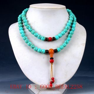 100 Natural Turquoise & Beeswax&red Coral Handwork Carved Necklaces Qw0507 photo
