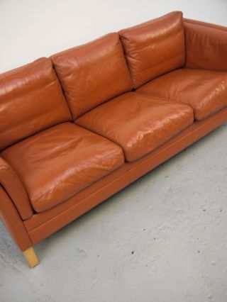 1960s Vintage Danish Mogens Hansen Leather Sofa Borge Mogensen Denmark photo