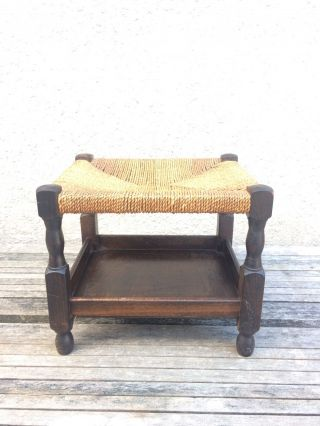 Vintage Dark Oak Stool With Turned Legs,  Rush / Wicker Seat And Shelf Below photo