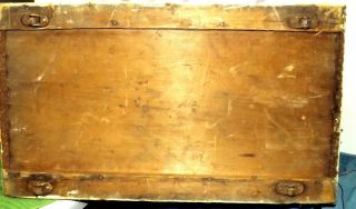 Trunk Camelback Trunk W Tray Steamer Wood Antique W 4 Wheels Buffalo York photo