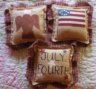 Primitive July Fourth Bowl Filler Tucks Folkart Flag Eagle Handpainted Americana photo