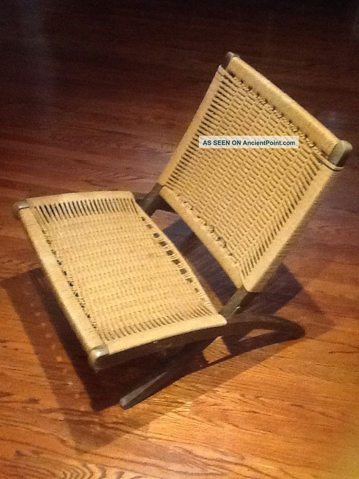Vintage Mid Century Folding Rope Danish Hans Wegner Style Lounge Chair Post-1950 photo
