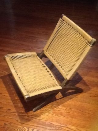 Vintage Mid Century Folding Rope Danish Hans Wegner Style Lounge Chair photo