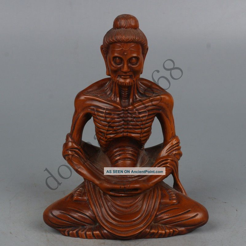 Chinese Exquisite Hand-carved Luohan carving Boxwood statue