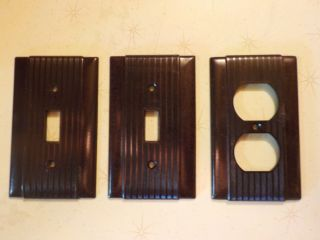 Vintage Uniline Brown Bakelite Switch Plate Covers 2 Light Switches,  1 Plug photo