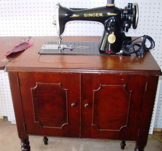 Singer 15 - 91 Direct Drive Sewing Machine,  Egyptian Scroll,  47walnut Cabinet,  1935 photo