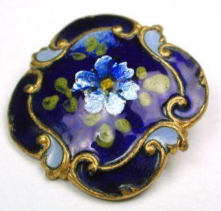 Antique Square Cobalt Enamel Button Flowers Over Foil W Fancy Brass Border 15/16 photo