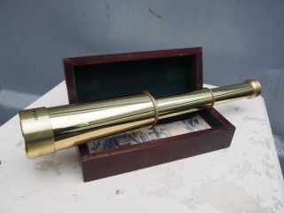 Vintage Authentic Models Nautical Officer ' S Brass Spyglass Collapsible Telescope photo