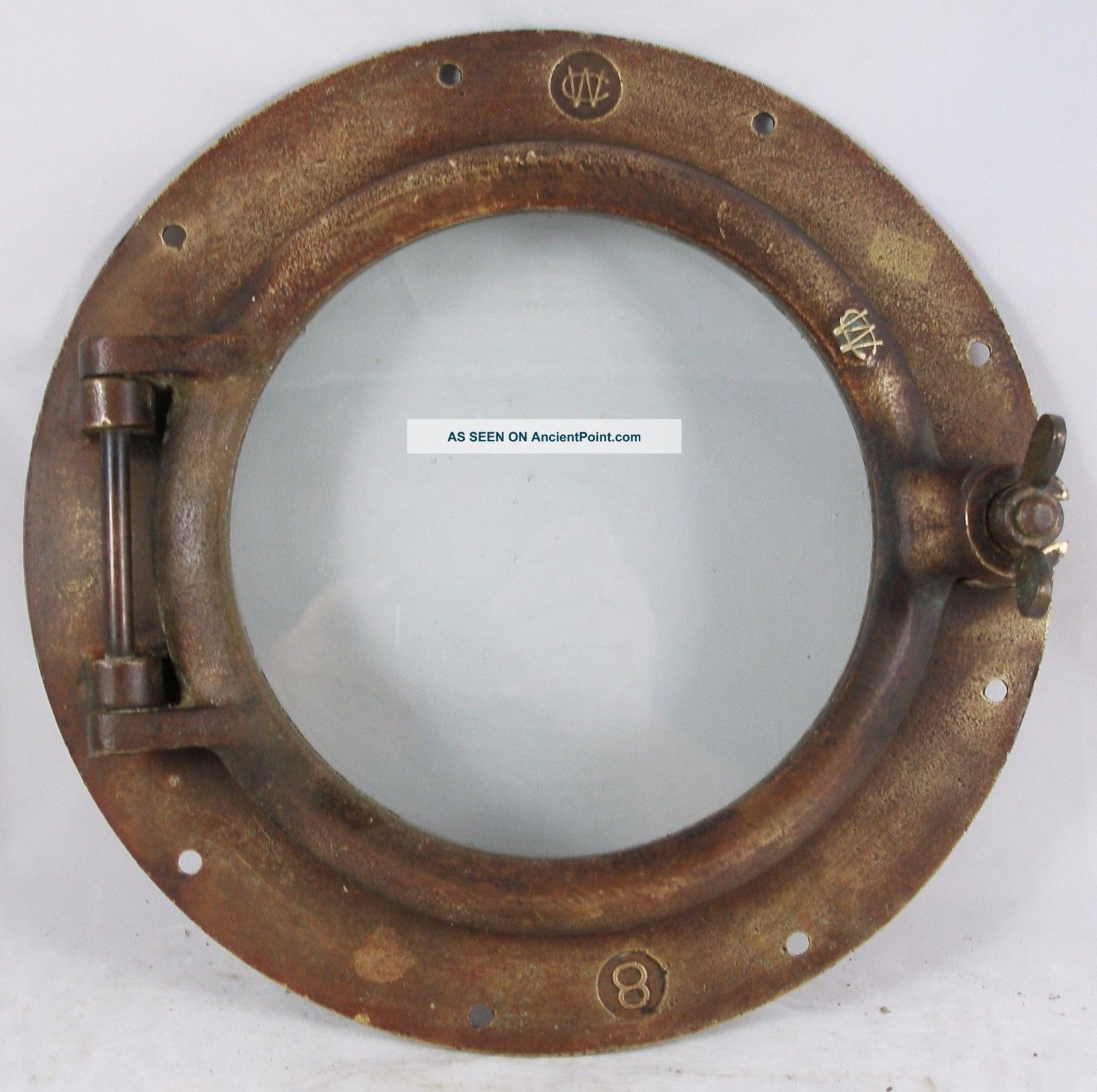 Antique Bronze Porthole,  Salvaged Porthole Nautical Wc 8 Porthole Portholes photo