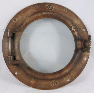 Antique Bronze Porthole,  Salvaged Porthole Nautical Wc 8 Porthole photo