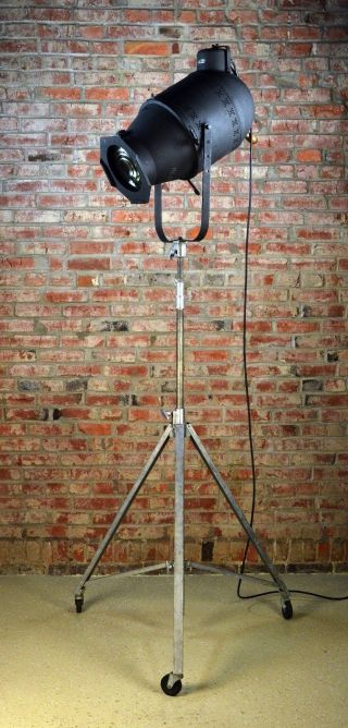 Steampunk Industrial Theatre Style Floor Lamp Black Vintage Antique Black Light photo