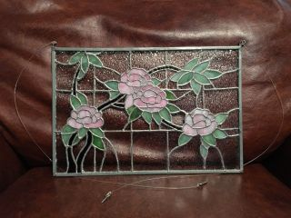 Handcrafted Tiffany Style Stained Leaded Art Glass Panel Flower 14.  5