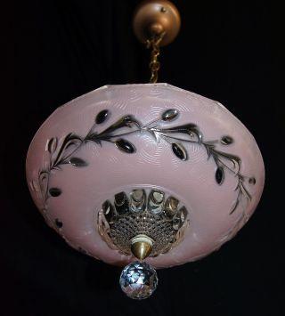 Vintage Art Deco Victorian Glass Shade Ceiling Light Fixture Chandelier 1940 ' S photo