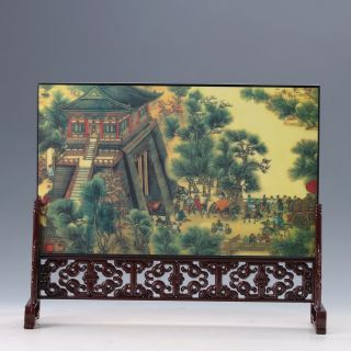 Chinese Painted Qingming Festival Riverside Screen photo