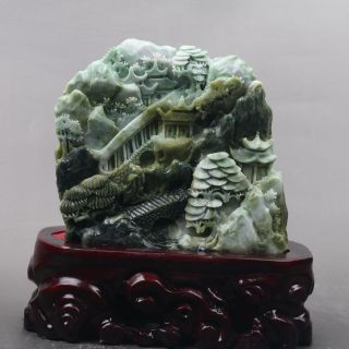 Exquisite 100 Natural Dushan Jade Hand Carved Moutain & Man Statue Y277 photo