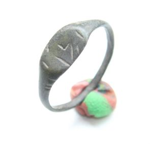 Ancient Old Viking Bronze Runic Ring (may01) photo