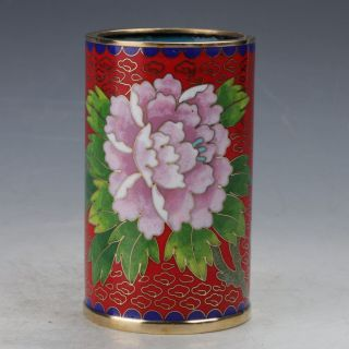 Chinese Cloisonne Hand - Made Bird And Flower Brush Pots photo