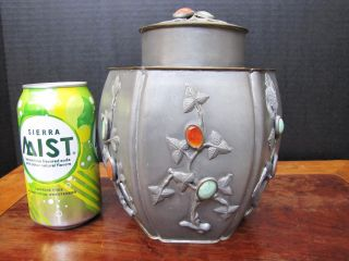 Old Chinese Pewter And White Bronze/metal Tea Caddy With Jade And Amber photo